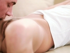 Stunning blondie babe Rihanna Samuel screwed up on the couch