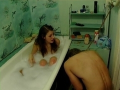Sissy slave tortured by a hot domina in the bathroom