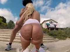 Big Booty Blondie Fesser twerking in Europe