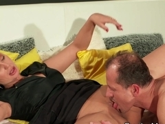 Shaved cunt mature deep throats and fucks