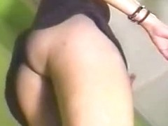 Babes with naked pussies dance in the upskirt action