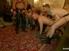 Bound in Public. Cum slut fucked by party goers and tossed in an oil orgy
