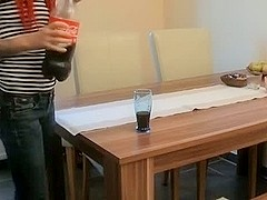 Redhead amateur pussy on the table