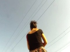 Amateur spy cam upskirt video of an undoubting hot girl