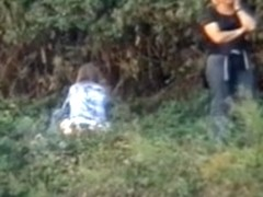 Real girls in turns spied pissing outdoor