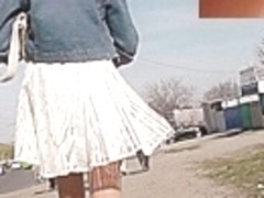 Great golden-haired upskirt footage