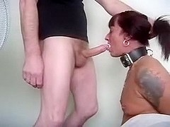 Thonged up on her knees & facefucked