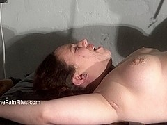 Nipple tortured crying fat ###slut on punishment rack is whipped and tormented mercilessly