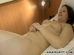 Busty amateur girlfriend fucked in a hotel room