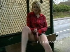 Flashing blonde Shay Hendrix in public nudity and upskirt amateur footage of voyeur exhibitionist .