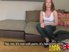 FakeAgentUK: Attractive redhead gets surprise creampie in fake casting