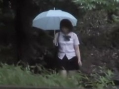 Rain sharking affair with some really tempting young Japanese sweetie