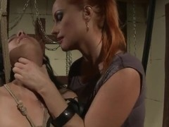 Poor babe Aleksa is being taught a lesson by a hot mistress Katy Parker