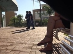 Candid feet in sandals (faceshot included)