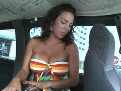 Busty babe named Bianca in the car
