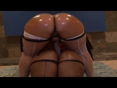 Hawt ebon sluts receive their booties oiled and ride vibrator jointly
