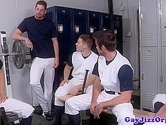 Jerking jock cumcovered in lockerroom after game