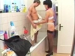 Amature MILF Marie Bathes and Fucks Not Her Son