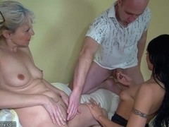 OldNanny Old lady with pretty girl masturbating and fucking with guy
