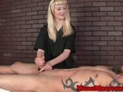 Feisty femdom masseuse ruins clients orgasm