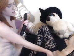 Naughty Lesbian Fucks Their Pussy At The Same Time