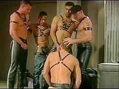 Gay does blowjob to four hot boys