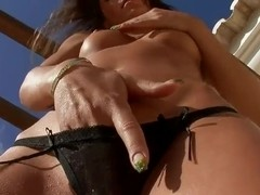 Cutie plays with pussy after showing hot body