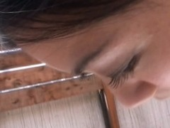 Japanese sexy chick with long dark hair downblouse having fun