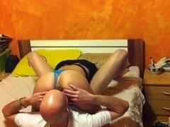 Hottie has 69 and doggystyle sex with her bald bf