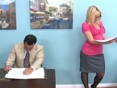 Golden-Haired gives a footjob and foot worship in boots