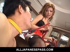 Oriental domina gives her thrall a coarse oral