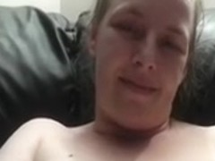 Mature white girlfriend on my leather ottoman masturbating