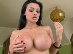 Sexy titted Aletta Ocean reveals her meaty melons teasing everyone's attent...