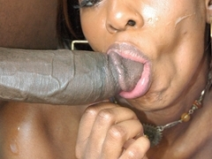 Ebony lady takes the dick deep down her vagina