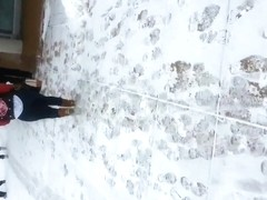 nice ass walking in the snow