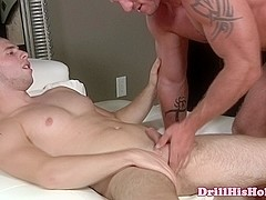 Powerful hunk is giving blowjob to sexy jock