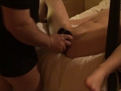 Maleen vibrator fuckt bound down, part two of two