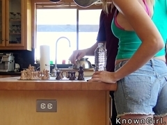 Cheating girlfriend sucks cock in kitchen