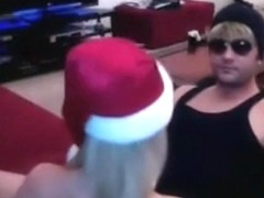 Blonde with santa hat has reverse cowgirl and doggystyle sex