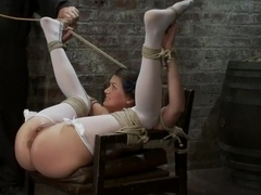 Our Little Pig Tailed Cutey is Tied Like a Slut Caned and Finger Fucked Till she Squirts!