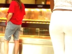 Sexy Phatty In White Tights Teasing By The Deli..