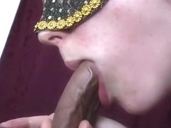 Prostate milking blowjob makes him cum in her mouth