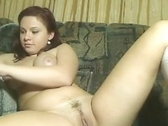 Busty white bimbo on my couch shows me her solo masturbation session