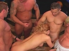 Ginger nymph gets roughly banged in groupsex scene