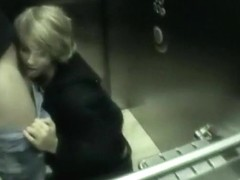 Hot amateur cock sucking in elevator