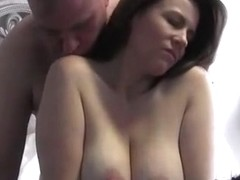 Fat guy milks his pregnant wife's tits and she milks his cock