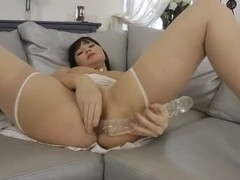 Ilona Fox masturbating on the sofa and getting drilled