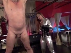 Hot Asian mistress in catsuit whipping