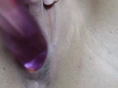 Blonde Girl Rubs Her Pussy With Vibrator And Dildo