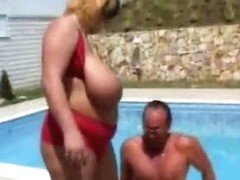 Plump bitch with huge melons loves reverse cowgirl position